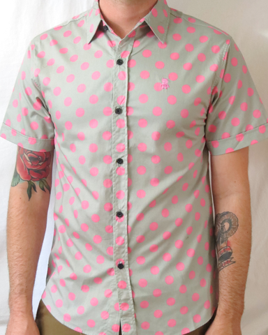 Polka Dot Short Sleeve Shirt - Gray and Pink