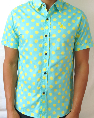 Polka Dot Short Sleeve Shirt - Turquoise and Yellow