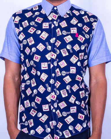 Postage Print Short Sleeve Shirt - Blue