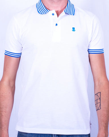 White Polo with Blue Striped Collar