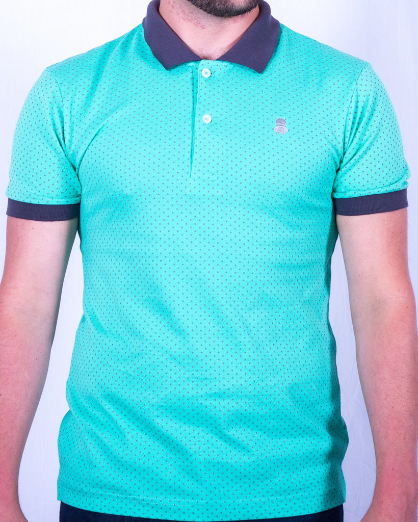 Mint and Gray Polka Dot Polo