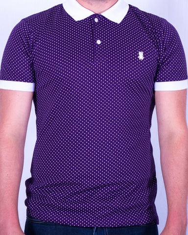 Dark Purple and White Polka Dot Polo