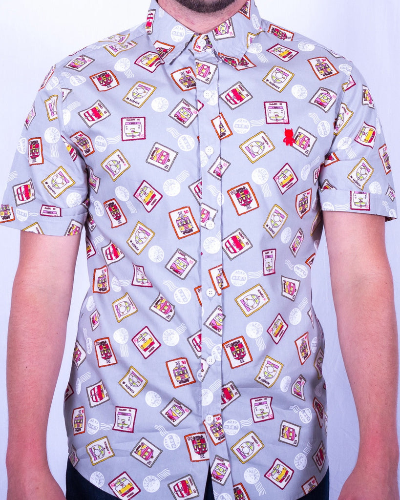 short sleeve postage print mens button up shirt