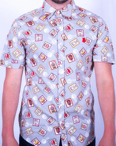 Sur Club 1976 - Postage Print Short Sleeve Shirt - Gray