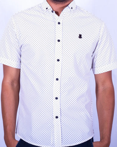 White and Black Polka Dot Short Sleeve Shirt