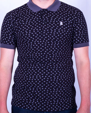 Black and Gray Anchor Print Polo