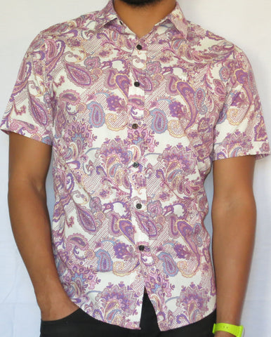 Paisley Printed Short Sleeve Shirt - Purple