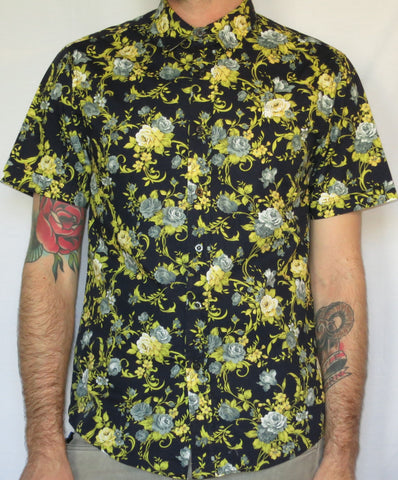 Blue, Yellow and Black Floral Print Shirt
