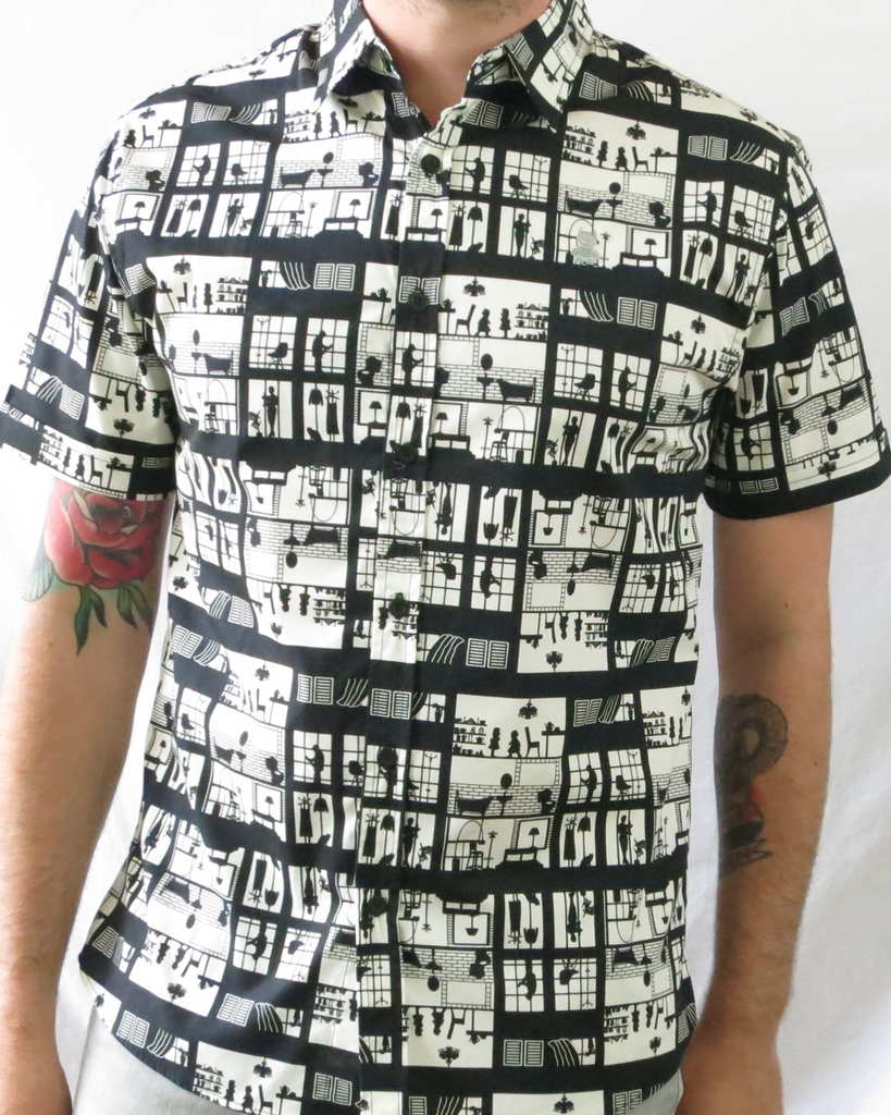 Apartment Window Print Short Sleeve Shirt - Black and White