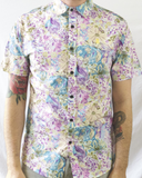 Floral Print Short Sleeve Shirt - Blue and Purple