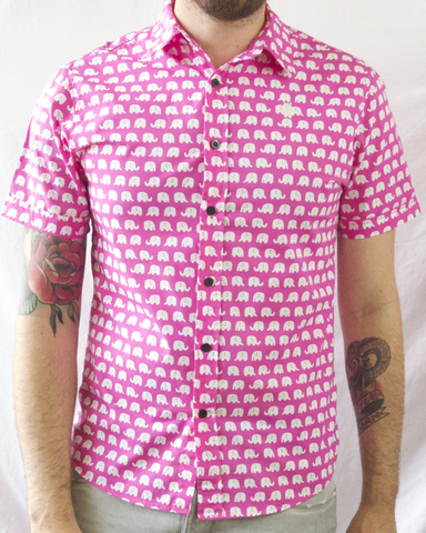 Elephant Print Short Sleeve Shirt - Pink and White
