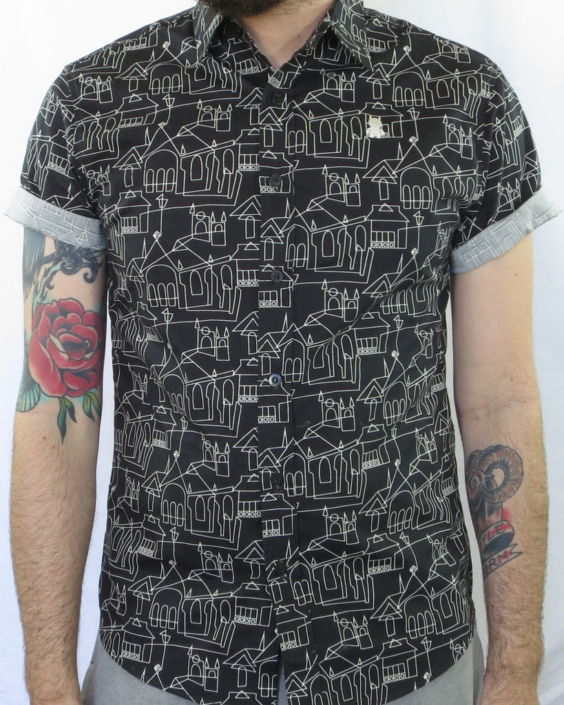 Building Sketch Print Shirt - Black and White