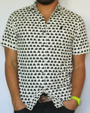 Black and White Elephant Print Short Sleeve Button up Sur Club 1976