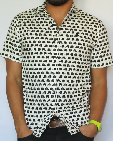 Elephant Print Short Sleeve Shirt - Black and White