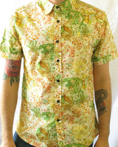 Floral Print Short Sleeve Shirt - Yellow and Green