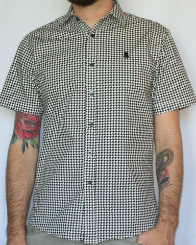 Houndstooth Print Short Sleeve Shirt - Black
