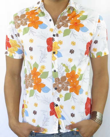 Floral Print Short Sleeve Shirt - Island Orange Blue and Green