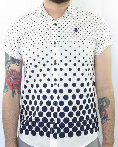 White and Navy Blue Multi-Polka Dot Shirt
