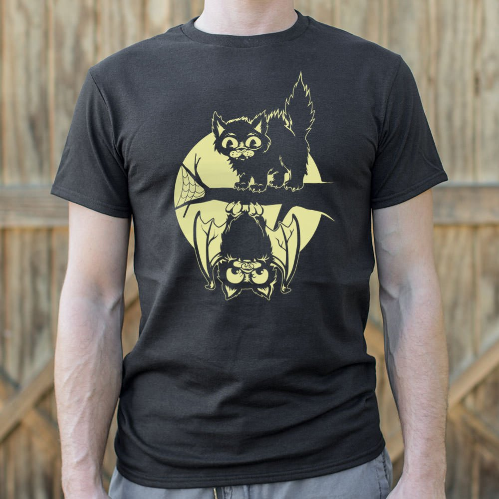 Cat And Bat Halloween T-Shirt (Mens)