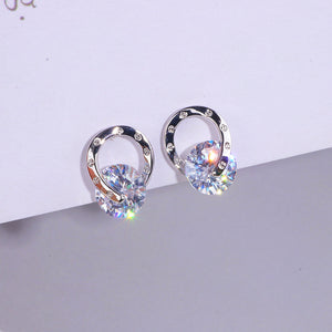Trendy OL Style Simple Cubic Zirconia Stud Earrings