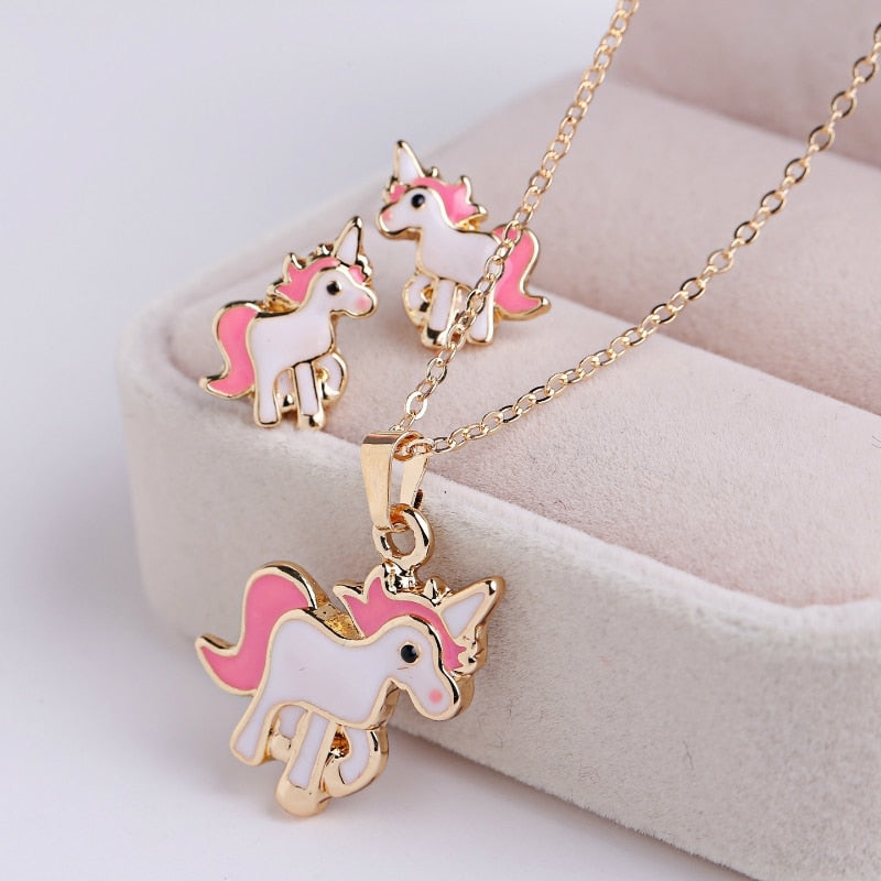 Pink Horse Unicorn Jewelry Sets Earrings Necklaces  for Women and Girl