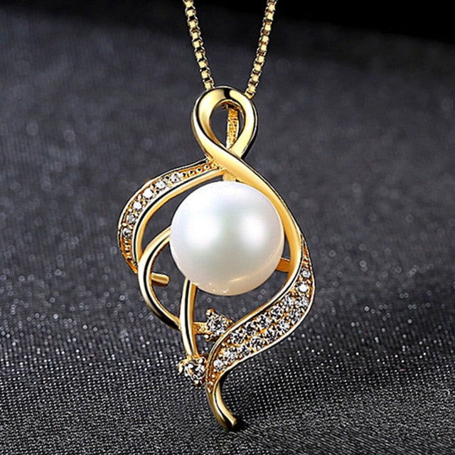 925 Silver Necklace Gold Color Pearl Pendant