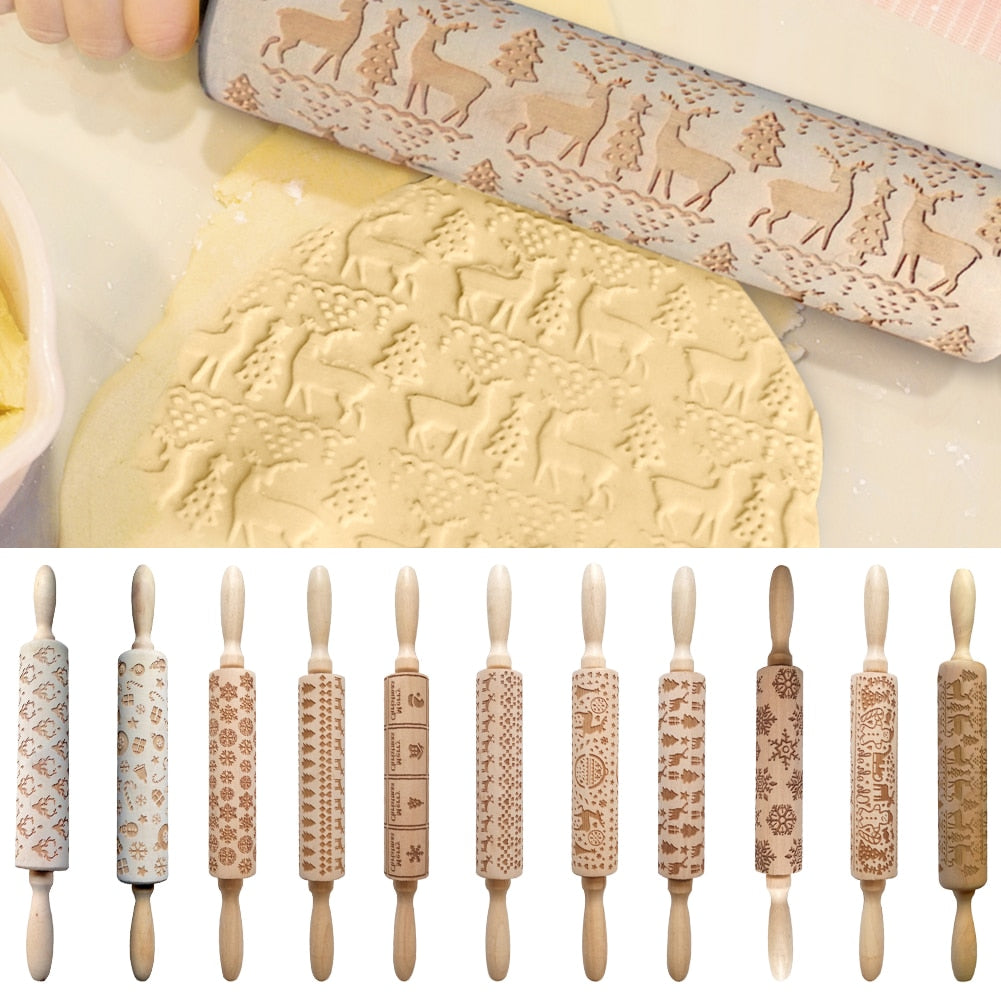 Christmas Embossing Rolling Pin For New Year Christmas Decoration