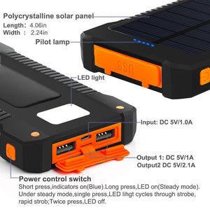 30000mAh Solar Power Bank Waterproof Solar Charger Dual USB External Charger