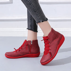 Women Boots Ankle Leather Lace Up