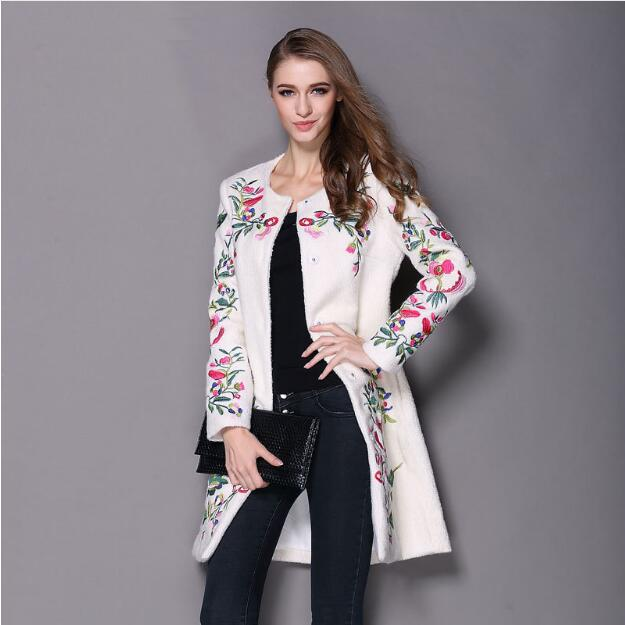Embroidered Neck O Button Fashion Coat