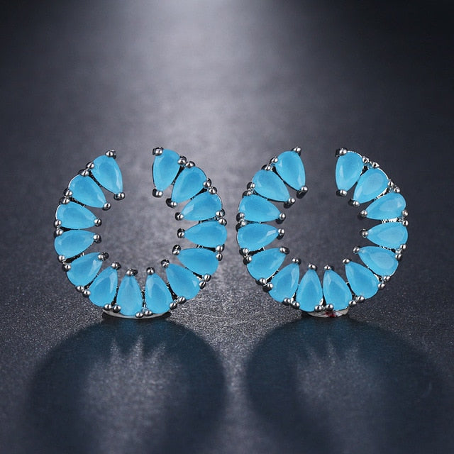 Blue Small Stud Earrings With Top Quality Cubic Zirconia