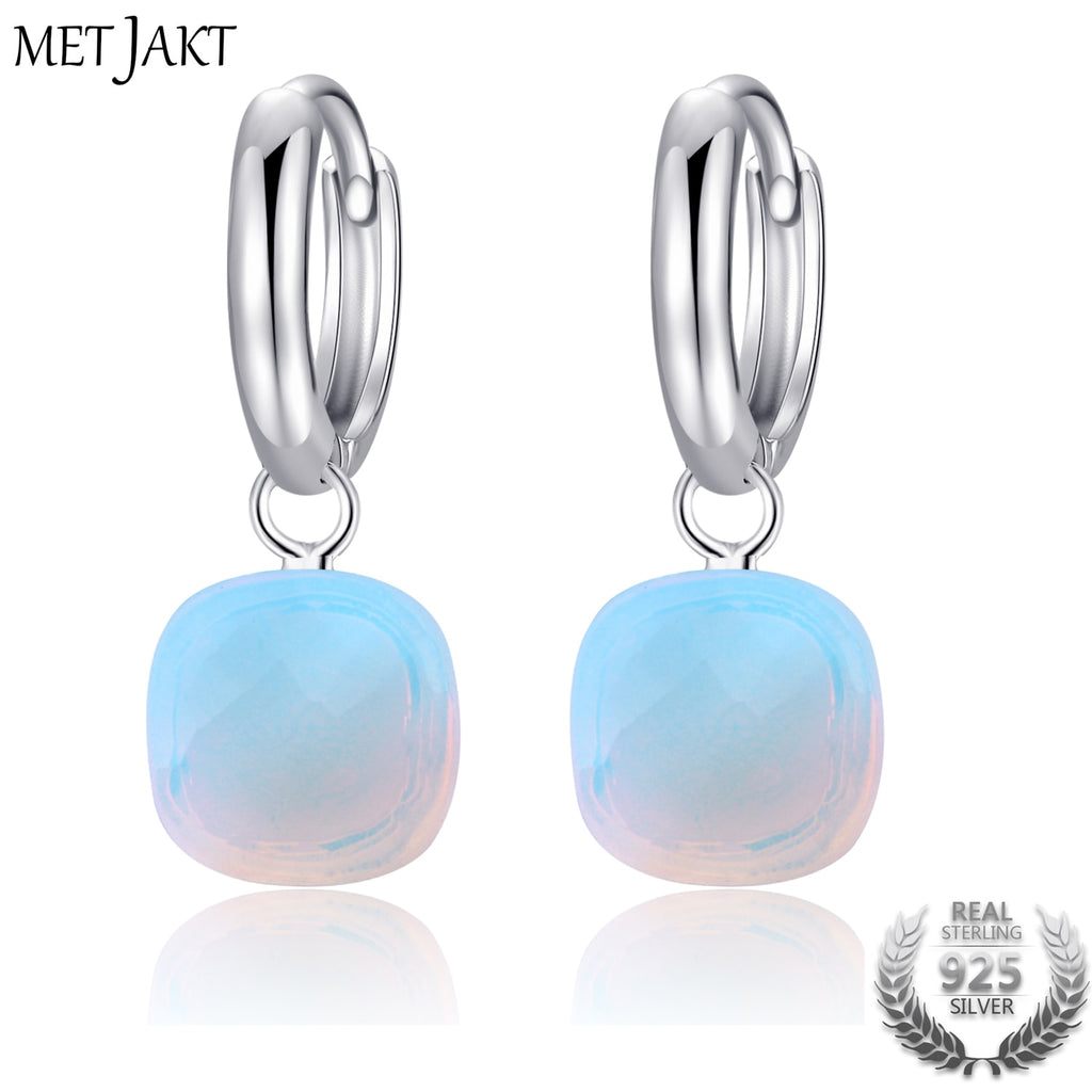 Natural Moonstone Drop Earrings Solid 925 Sterling Silver