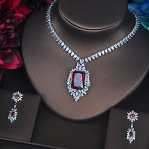 Red Crystal CZ Stone Jewelry Sets For Women