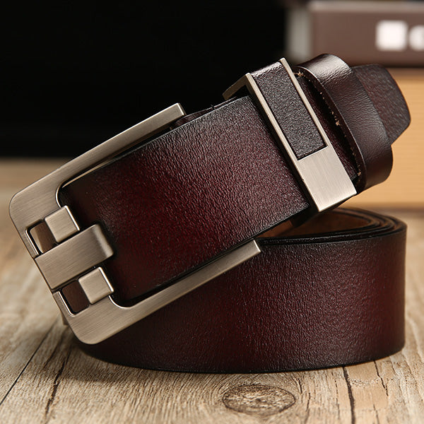 Genuine leather luxury pin buckle belts for men