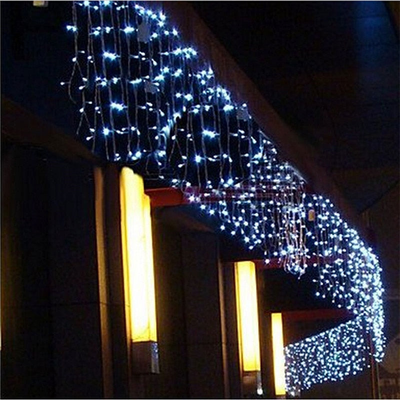 5M Christmas LED Curtain Icicle String Light droop 0.4-0.6m Outdoor Waterproof