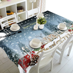 3D Tablecloth Christmas Tree New Year Waterproof