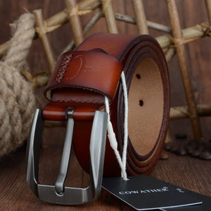 Vintage style pin buckle genuine leather belts for men