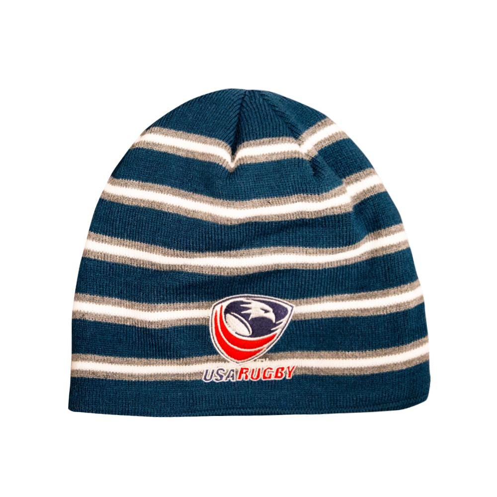 USA ACRYLIC FLEECE BEANIE - Navy/Grey / OS