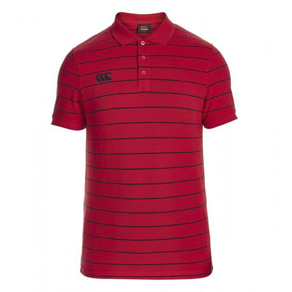 Striped Polo - True Red/Navy