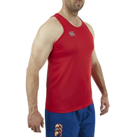 Core Vapodri Poly Small Logo Singlet - Flag Red