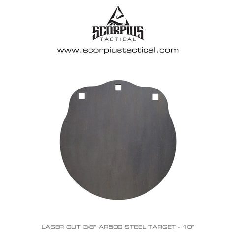 "10"" Round 3/8"" Thick, Laser Cut - Certified AR500 Steel Gong, Three Mounting Holes"