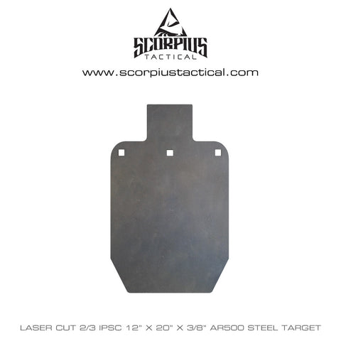 "12""x 20"" IPSC / IDPA, 2/3 Size, Certified AR500 Target 3/8"" Thick, Three Mounting Holes - Laser Cut"