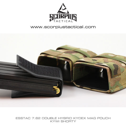 Esstac 7.62 Double KYWI Shorty - Hybrid Kydex Mag Pouch With Outside Molle