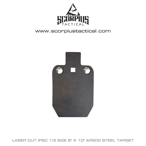 "6""x 10"" IPSC / IDPA, 1/3 Size, Certified AR500 Target 3/8"" Thick, Three Mounting Holes - Laser Cut"
