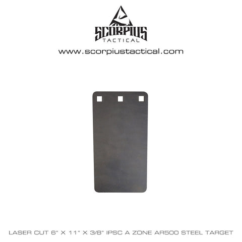 "6"" x 11"" Rectangle, IPSC / IDPA A Zone Rifle Target, Certified AR500 Target 3/8"" Thick - Laser Cut"