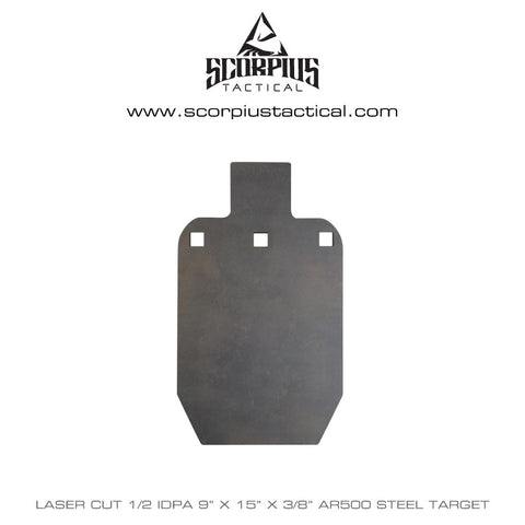"9""x 15"" IPSC / IDPA, 1/2 Size, Certified AR500 Target 3/8"" Thick, Three Mounting Holes - Laser Cut"
