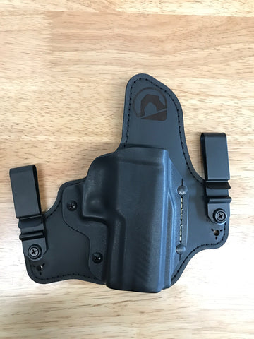 Black Arch Holsters - Glock 43 - ACE1 GEN 2 W/ Suede Backing - Metal Clips - Black