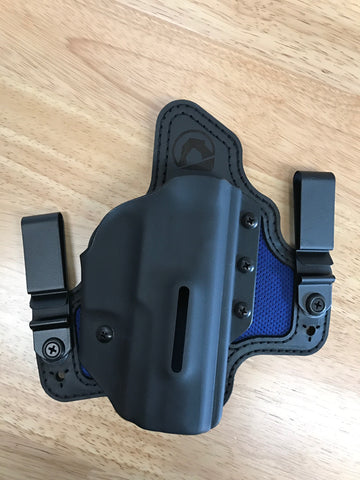 Black Arch Holsters - Dual Metal Clips IWB PROTOS-M With Breathable Backer - Glock 19/23/32 - Black/Blue