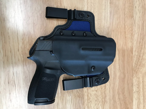 Black Arch Holsters - Sig P320c - Dual Metal Clips IWB PROTOS-M With Breathable Backer - Black/Blue