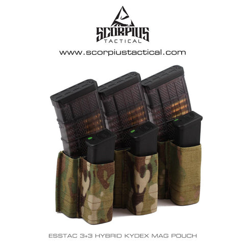 Esstac 5.56 Triple Kangaroo 3+3 KYWI Shorty - Hybrid Kydex Mag Pouch With Outside Molle